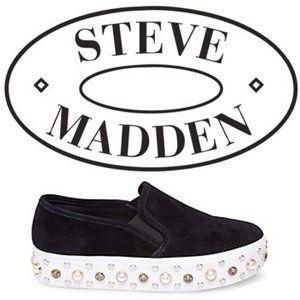 NEW!! STEVE MADDEN Glitzy Leather Sneaker in Black